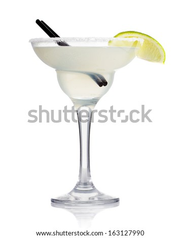 Transparent alcohol cocktail with lime slice isolated on white - stock photo