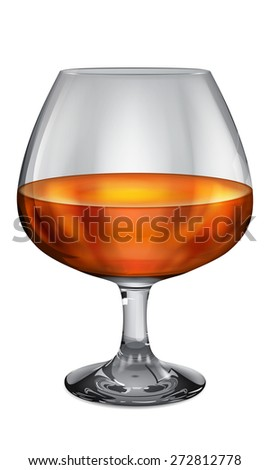Transparent and opaque realistic brandy glasses with cognac - stock photo
