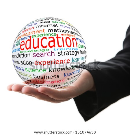 Transparent ball with inscription education in a hand - stock photo
