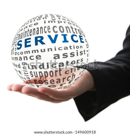 Transparent ball with inscription service in a hand - stock photo