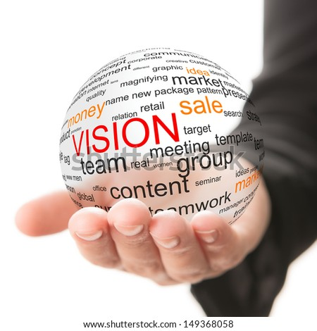 Transparent ball with inscription vision in a hand - stock photo