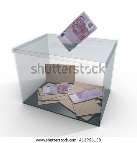 transparent ballot box with some votes and 500 euro banknotes. Corrupt politics and bribery concept. 3D rendering, 3d illustration - stock photo