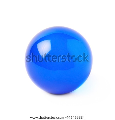 Transparent blue glass ball sphere isolated over the white background - stock photo