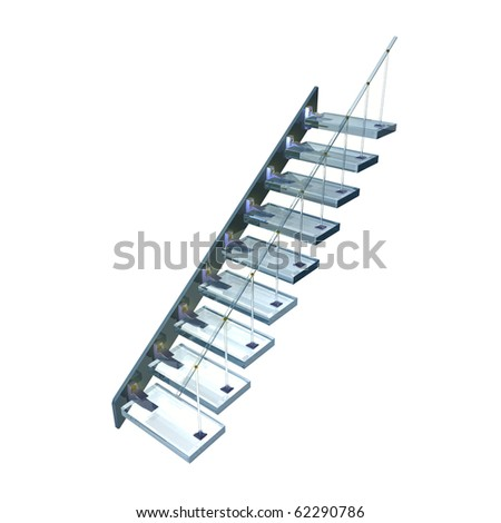 Transparent blue glass ladder with gold fixture