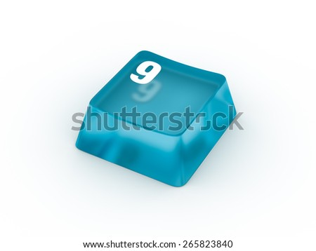 Transparent blue keyboard button with number NINE
