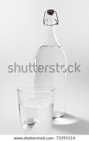 Transparent bottle and glass with water.
