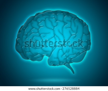transparent brain model isolated on blue background