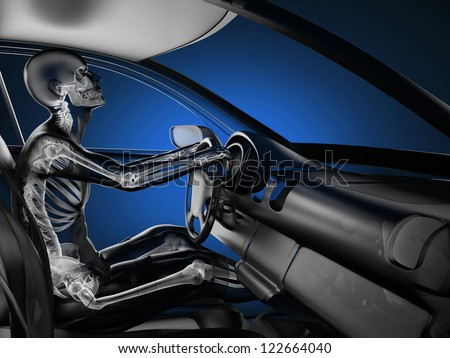 transparent car concept with driver made in 3D - stock photo