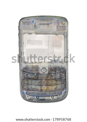 Transparent cell phone isolated on white - stock photo