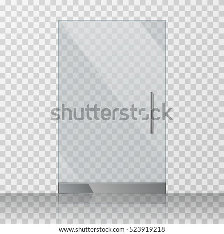 Clear glass texture  Transparent Clear Glass Door Isolated On Stock Vector 475086823 ...