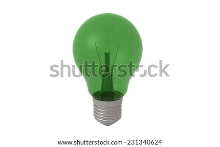 Transparent colored bulb on white background - 3d render - stock photo
