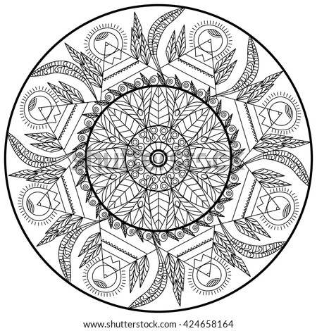 transparent contour floral ornament circle mandala sacred geometric print pattern illustration for adult coloring pages or - Sacred Geometry Coloring Book
