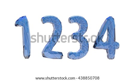 transparent crystal number set, one, two, three, four, 3d illustration - stock photo