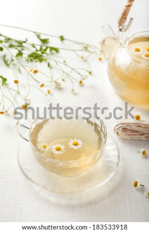 Transparent cup of camomile, chamomile tea with separate flowers in a cup and flowers and transparent teapot on a background