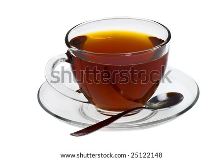 Transparent cup of coffee with spoon isolated on white - stock photo