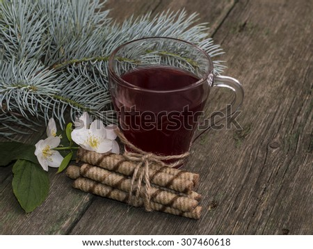 transparent cup of tea, fir-tree branch and floret, still life on - stock photo