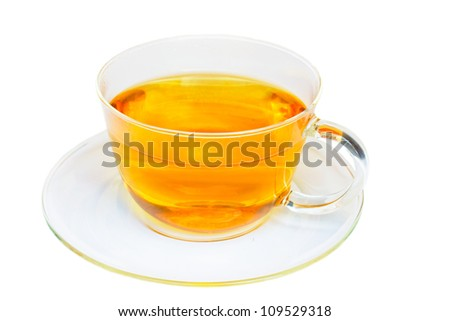 transparent cup of tea isolated on white background - stock photo