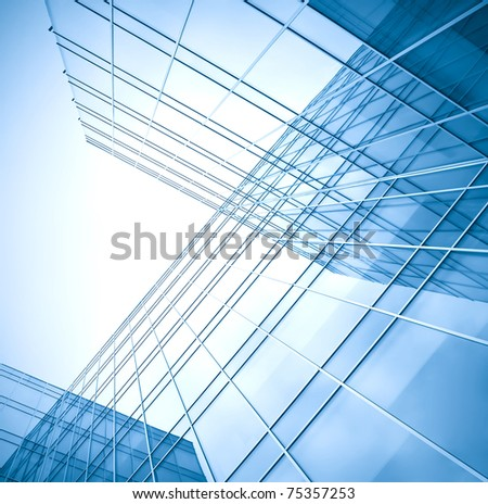 transparent curved wall of business center - stock photo