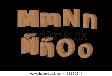Transparent 3D cork textured alphabet and symbols in different angles MNÃ?O