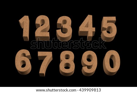 Transparent 3D cork textured alphabet, numbers and symbols in different angles