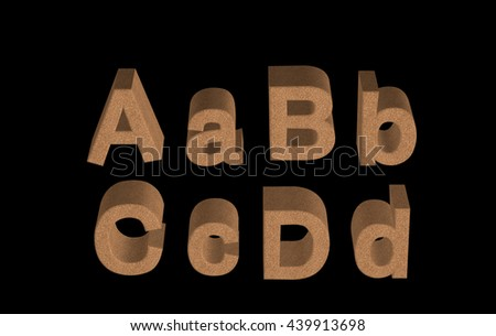 Transparent 3D cork textured alphabet, numbers and symbols in different angles ABCD