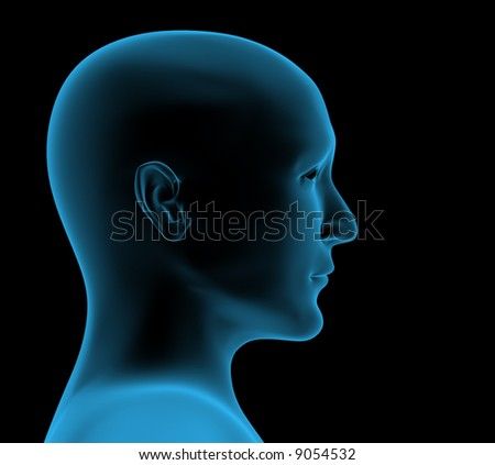 Transparent 3d head of the person - x-ray - stock photo