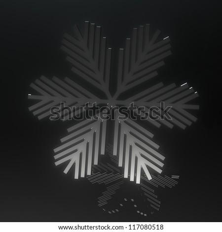 Transparent dark snowflake on black - stock photo