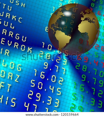 Transparent earth globe in front of stock exchange board / Stock exchange and earth - stock photo