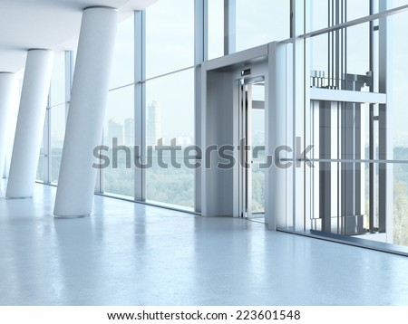 Transparent elevator - stock photo