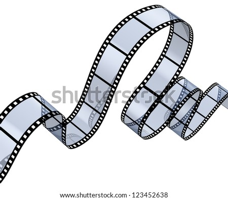Transparent filmstrip isolated on white background - stock photo