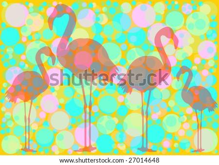 transparent flamingo silhouette on circle background - stock photo