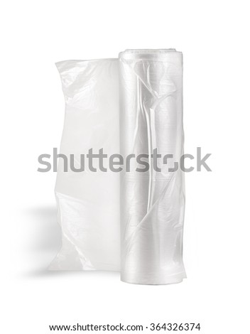 transparent food wrap on white background