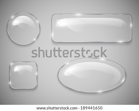 Transparent glass buttons - stock photo