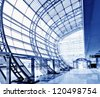 Transparent glass ceiling, modern architectural interior. - stock photo