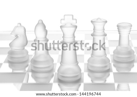 transparent glass chess isolated on white - stock photo