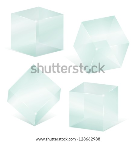 Transparent glass cubes - stock photo