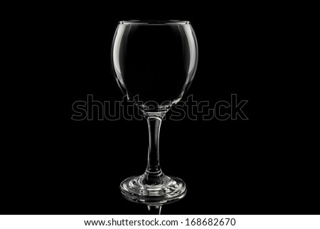Transparent glass cup on a black background