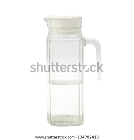 Transparent glass jug or pitcher with water isolated on white background