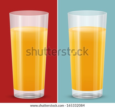 transparent glass of orange juice isolated