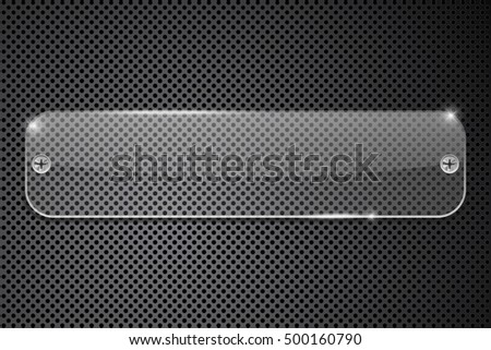 Transparent glass plate on perforated background. 3d illustration. Raster version