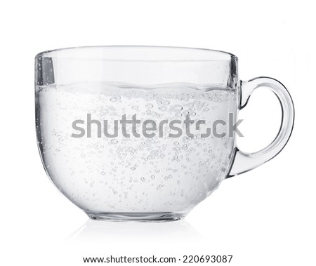 Transparent glass tea cup isolated on white background