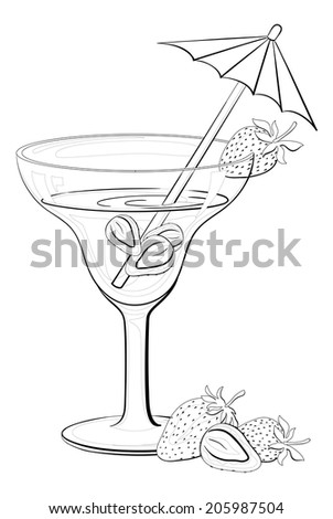 Transparent glass with drink, strawberries berries and straw with umbrella, black contours isolated on white background. - stock photo