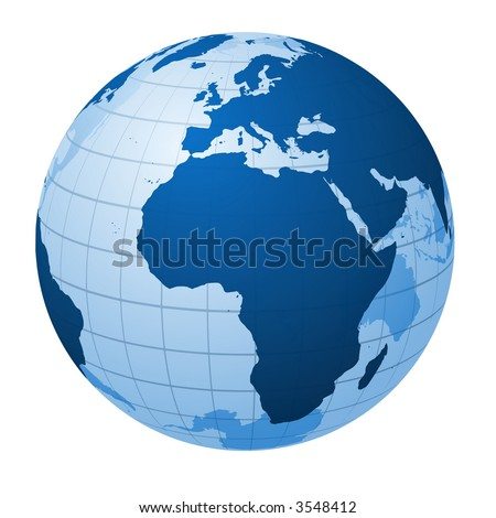 Transparent globe focused on Europe and Africa