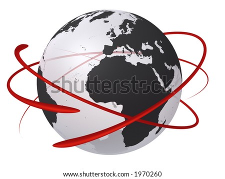 Transparent globe with red electron focused on Europe