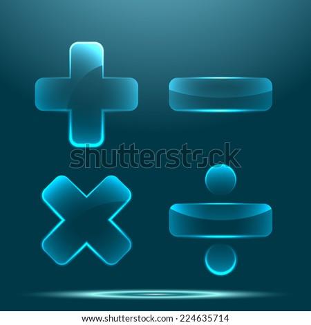 Transparent glossy glass math symbol set - stock photo