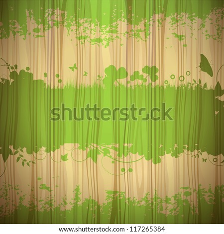 Transparent green background with wood texture