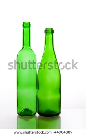Transparent green bottles
