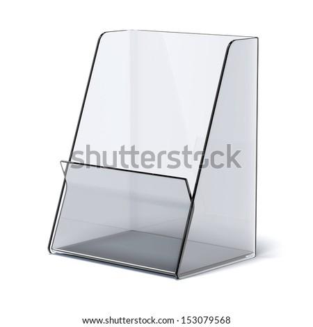 transparent holder for leaflets - stock photo