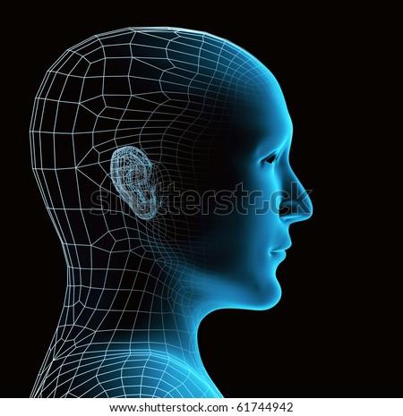 Transparent human head - stock photo