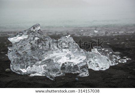 Transparent ice floe on the black sand beach, Iceland, Jokulsarlon